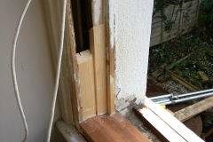 Close up of sash window frame