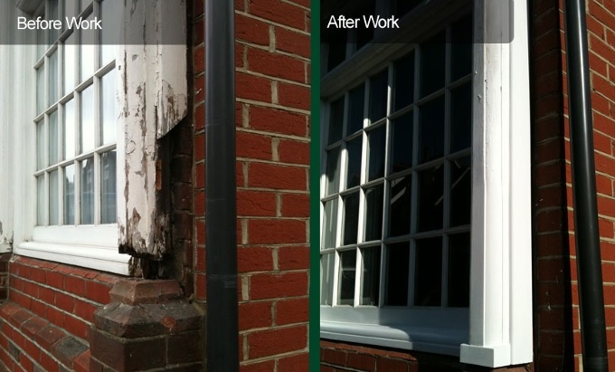 Sash window repair before and after photo