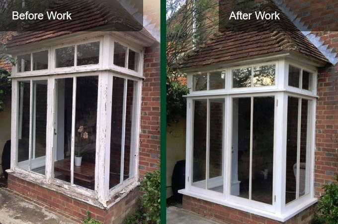 Sash window replacement before and after comparison photo