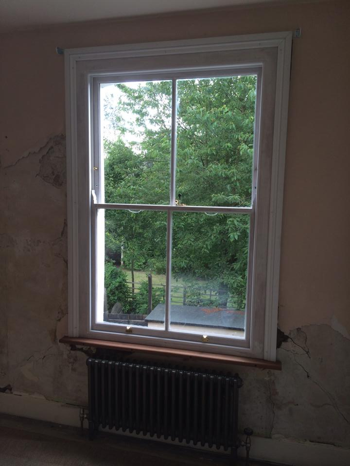 DG Box sash reinstated! Ready for the plasterer.