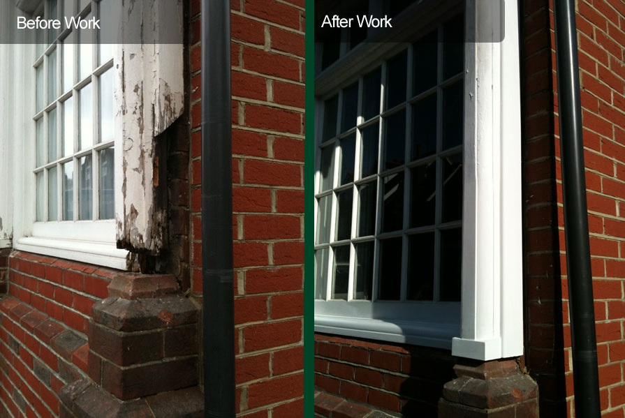 Before and after sash window repair work