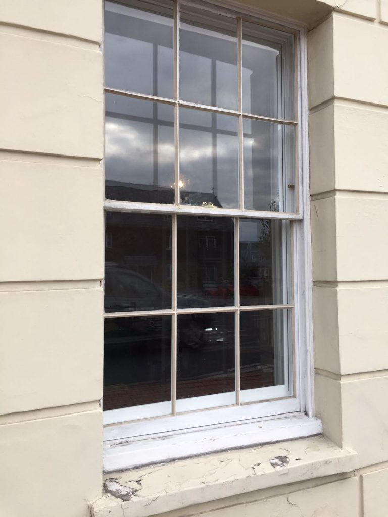 Sash window restoration in Lewes - image before restoration