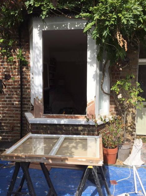 Draught proofing windows in Reigate work in progress