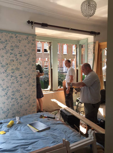 New double glazed sash windows in West London, men at work