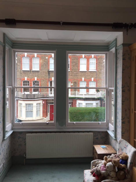 New double glazed sash windows in West London, view from inside
