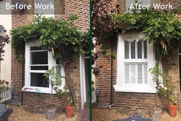 Sash windows before and after repair