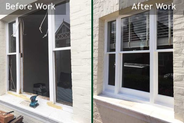 Victorian sash windows before and after repair