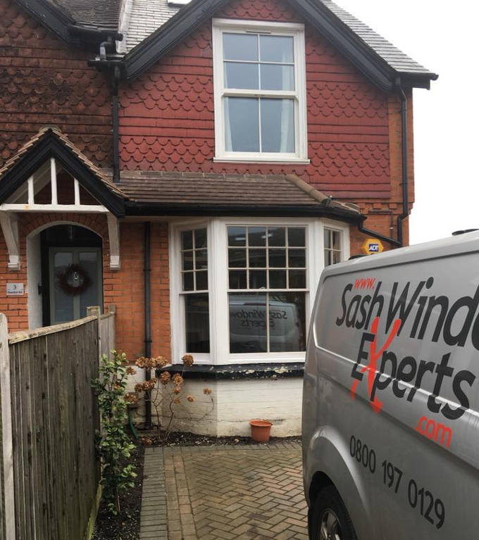 Hardwood double glazed sash bay in Reigate 1