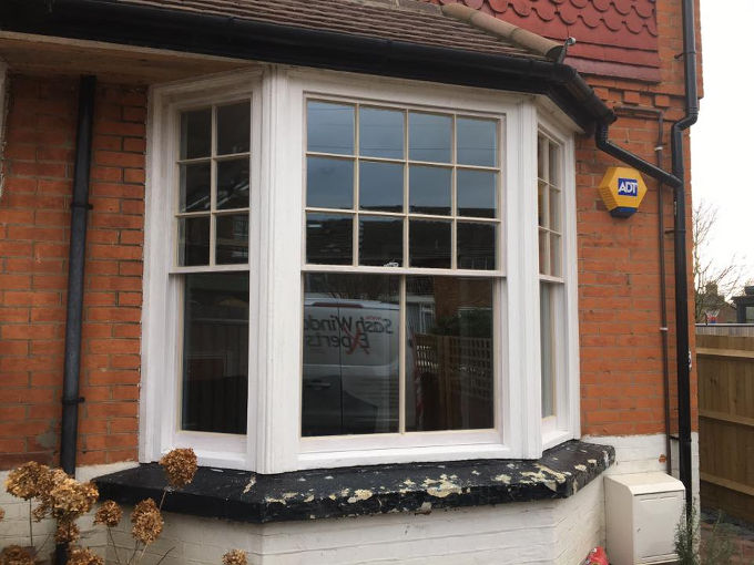 Hardwood double glazed sash bay in Reigate 2
