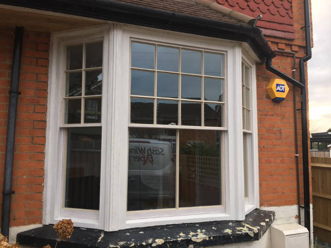 Hardwood double glazed sash bay in Reigate 3