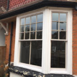Hardwood double glazed sash bay in Reigate 4