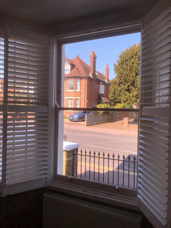 Hardwood acoustic double glazed sashes installed in Canterbury, view from inside