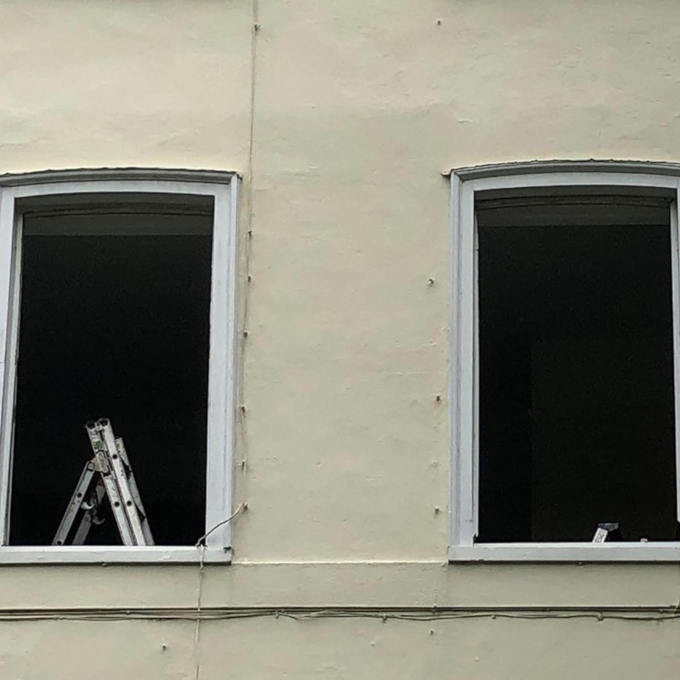 Close up of windows being prepared for fitting
