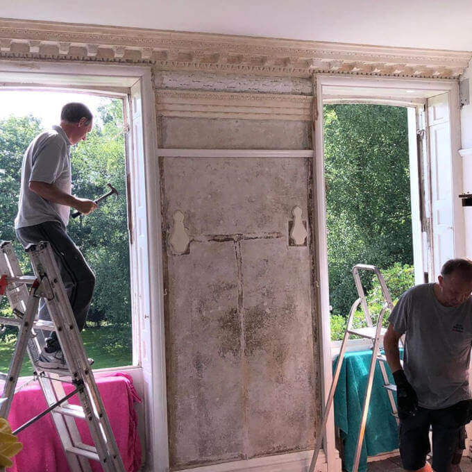 New sash windows being fitted