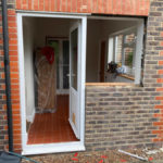 Hardwood double glazed French doors before 2