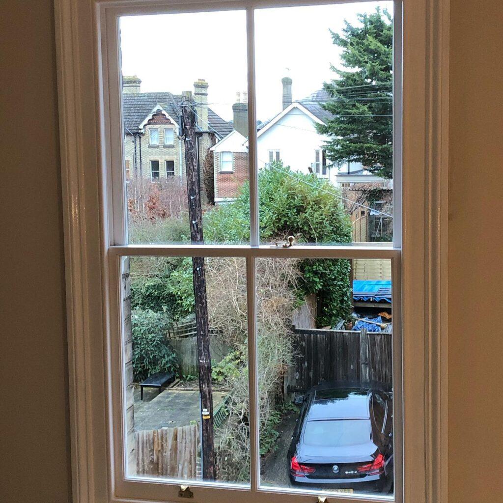 Installation of new hard wood sash windows with double glazed laminated glass 4