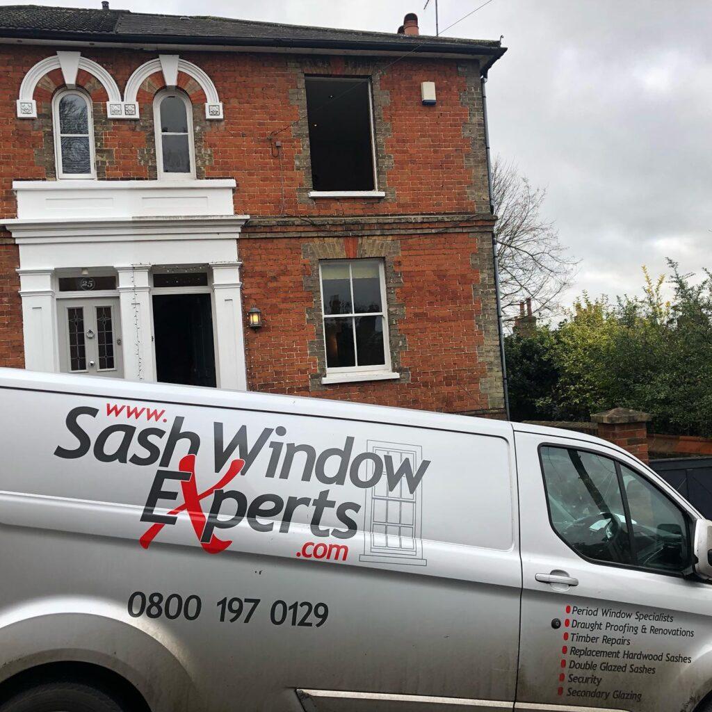 Installation of new hard wood sash windows with double glazed laminated glass 5